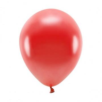 """100 stk. Økologiske metallic mørkerød balloner str. 10"""""""
