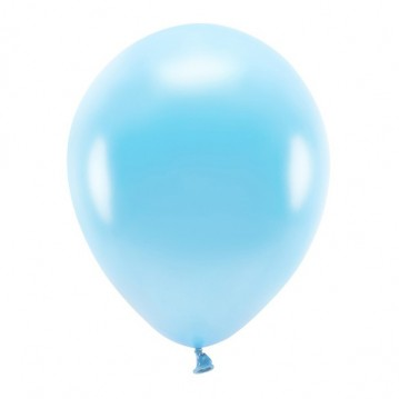 """100 stk. Økologiske metallic lyseblå balloner str. 12"""""""