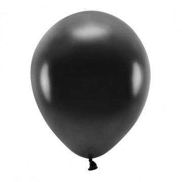 """100 stk. Økologiske metallic sort balloner str. 12"""""""