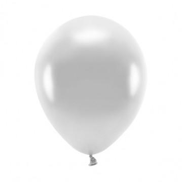 """10 stk. Økologiske metallic sølv balloner str. 10"""""""
