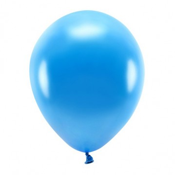 """10 stk. Økologiske metallic blå balloner str. 12"""""""