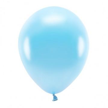 """10 stk. Økologiske metallic lyseblå balloner str. 12"""""""