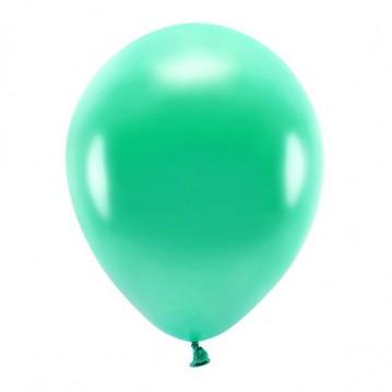 """10 stk. Økologiske metallic grøn balloner str. 12"""""""