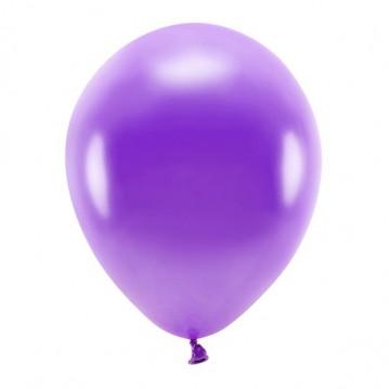 "10 stk. Økologiske metallic lilla balloner str. 12"""