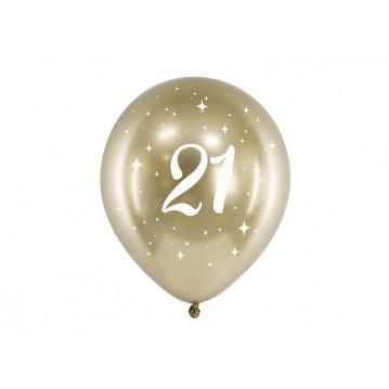 """6 stk. Chrome 21 år fødselsdagsballoner- Guld 12"""""""