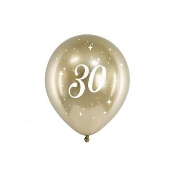 """6 stk. Chrome 30 år fødselsdagsballoner- Guld 12"""""""