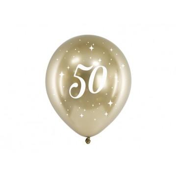 """6 stk. Chrome 50 år fødselsdagsballoner- Guld 12"""""""