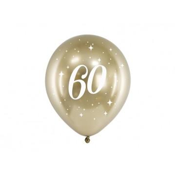 """6 stk. Chrome 60 år fødselsdagsballoner- Guld 12"""""""