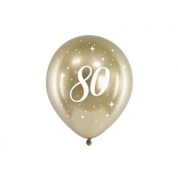"""6 stk. Chrome 80 år fødselsdagsballoner- Guld 12"""""""